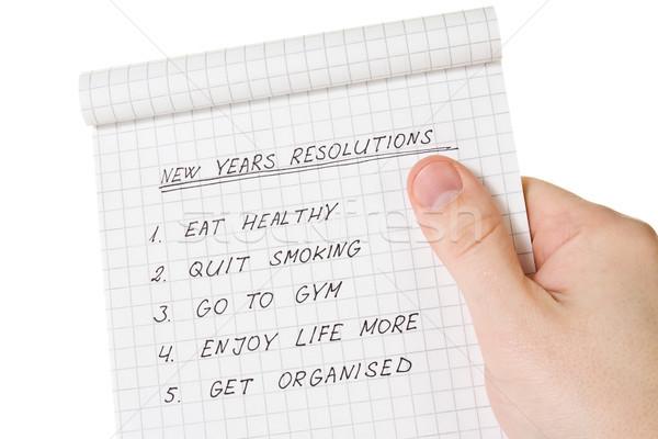 hand holding list of resolutions Stock photo © Grazvydas