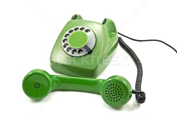 Zielone analog telefonu biały technologii kabel Zdjęcia stock © Grazvydas
