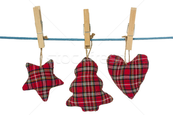 Christmas decorations hang on the clothesline Stock photo © Grazvydas