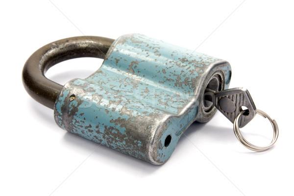 Lucchetto chiave bianco blu ruggine vintage Foto d'archivio © Grazvydas