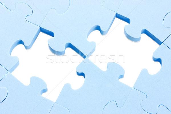Puzzle deux manquant pièces bleu texture Photo stock © Grazvydas