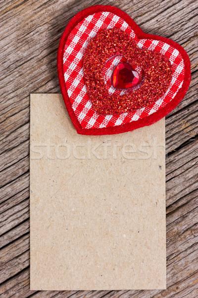 красный сердце бумаги кусок древесины текстуры Сток-фото © Grazvydas