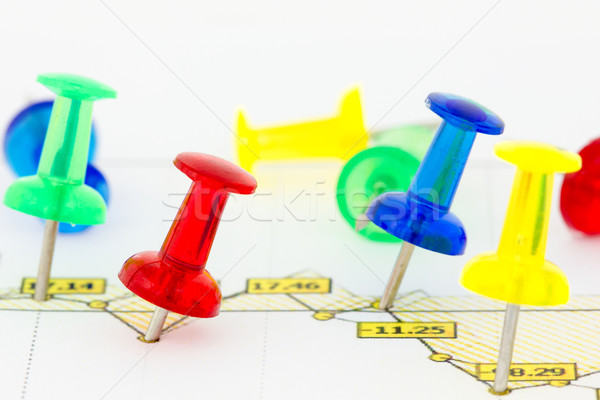 Business growth chart with colorful pins Stock photo © Grazvydas