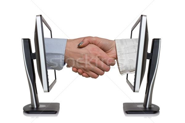 バーチャル ハンドシェーク 2 コンピュータ 手 インターネット ストックフォト © Grazvydas