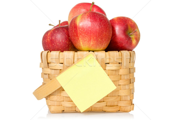 Apples in woven basket with sticky note Stock photo © Grazvydas