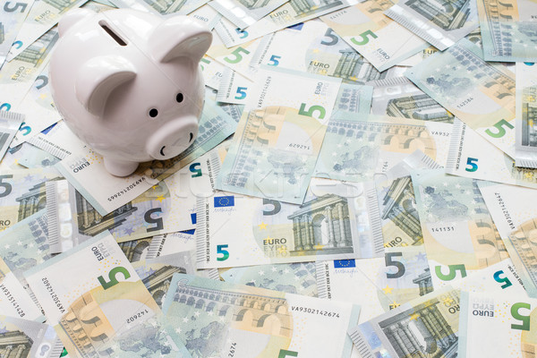 Piggy bank surrounded by five Euro notes Stock photo © Grazvydas