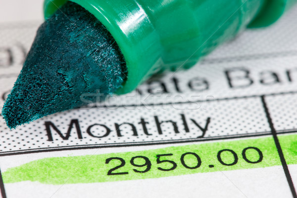 Mensual salario verde marcador dinero papel Foto stock © Grazvydas