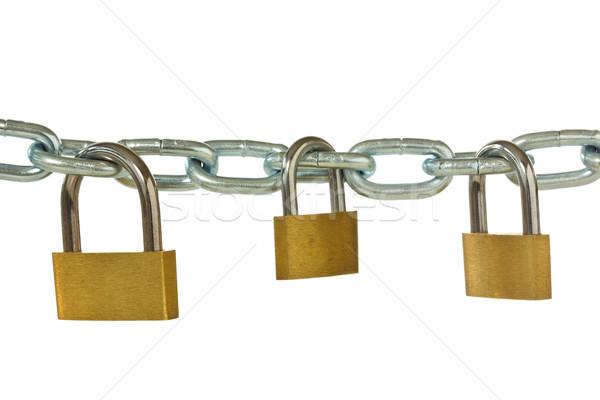 three padlocks hung on metal chain Stock photo © Grazvydas