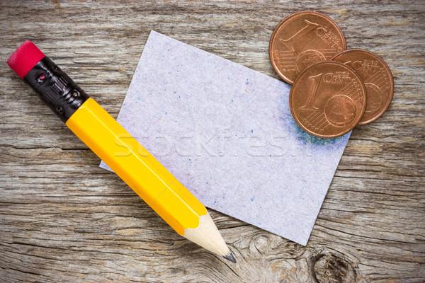 Сток-фото: монетами · карандашом · бумаги · карт · медь · евро
