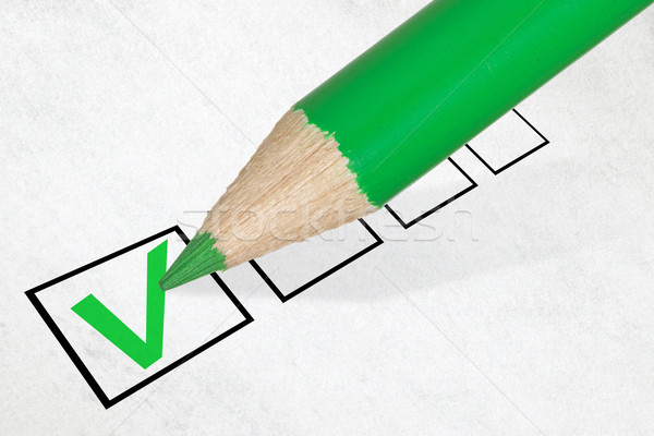 Green pencil marking check box Stock photo © Grazvydas