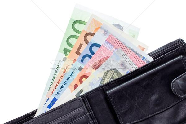 Open portafoglio euro isolato bianco Foto d'archivio © Grazvydas