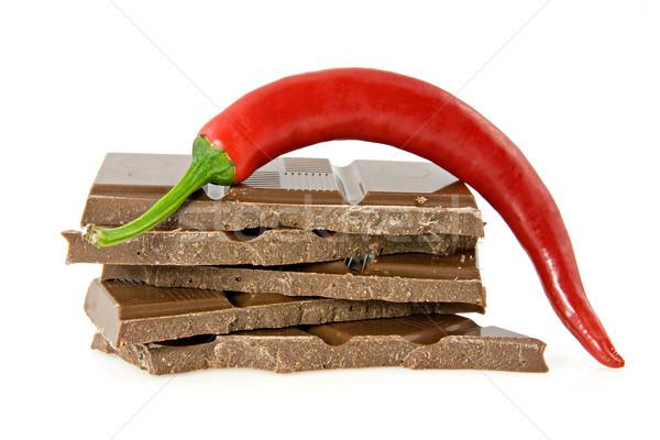 chili pepper on stack of dark chocolate Stock photo © Grazvydas