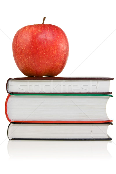 Könyvek piros alma felső boglya iskola alma Stock fotó © Grazvydas