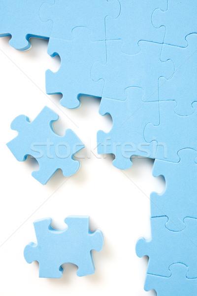 Foto stock: Quebra-cabeça · azul · peças · branco · textura