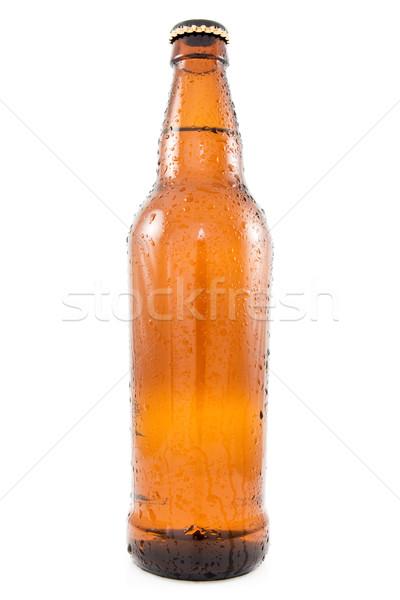 Bierfles koud geïsoleerd witte bier drinken Stockfoto © Grazvydas