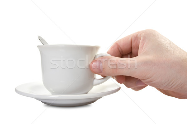 hand and teacup with plate Stock photo © Grazvydas