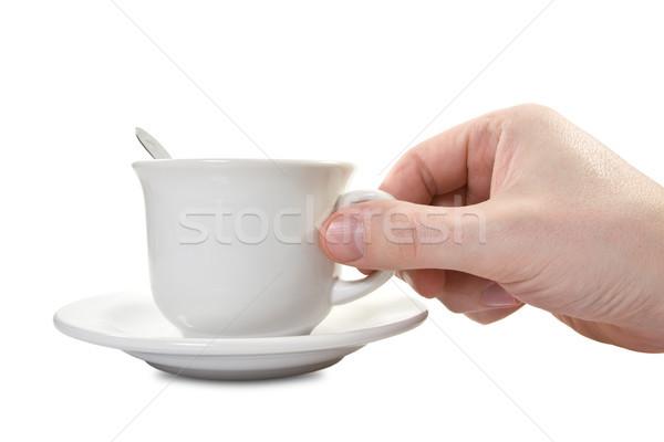 El çay fincanı plaka beyaz içmek nesne Stok fotoğraf © Grazvydas