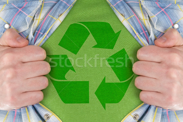 the recycle symbol on a green T-Shirt  Stock photo © Grazvydas