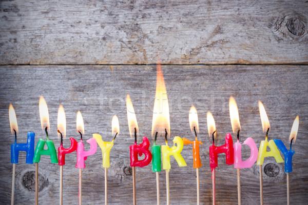 Brandwond houten gelukkige verjaardag kaarsen partij Stockfoto © Grazvydas
