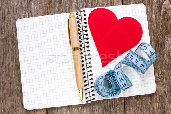 Set obiettivi misura carta cuore notebook Foto d'archivio © Grazvydas