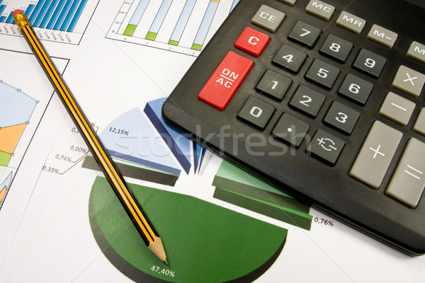 color charts ,pencil and black calculator Stock photo © Grazvydas