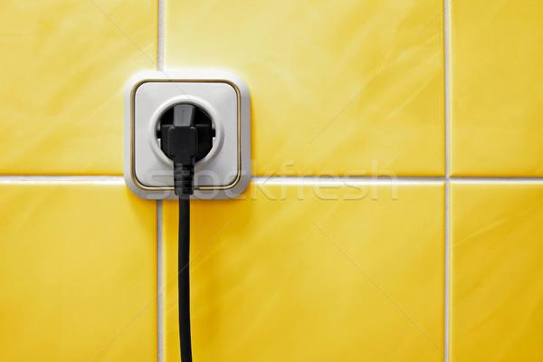 Banheiro parede elétrico plugue edifício indústria Foto stock © Grazvydas