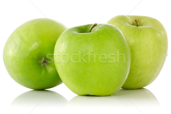 three green apples with reflection Stock photo © Grazvydas