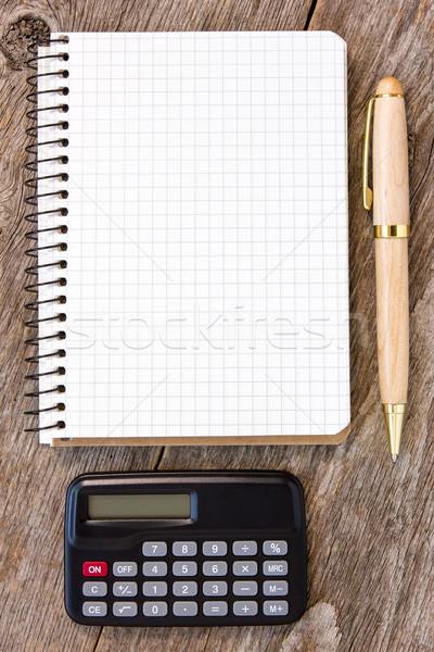 Zdjęcia stock: Notebooka · pióro · Kalkulator · w · górę · działalności