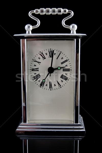 Vecchio clock nero riflessione business metal Foto d'archivio © Grazvydas