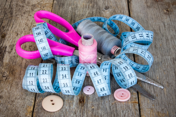 швейных инструменты ножницы рулетка Сток-фото © Grazvydas