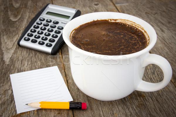 Business Sachen Holz Kaffeetasse Rechner leer Stock foto © Grazvydas