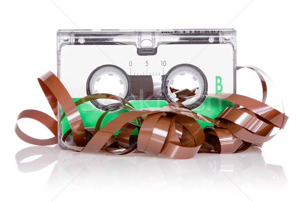 Audio cassette with pulled out tape Stock photo © Grazvydas