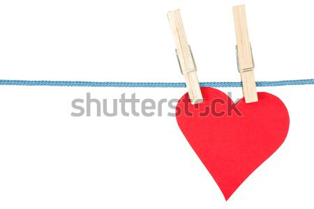 handmade heart hang on the rope Stock photo © Grazvydas