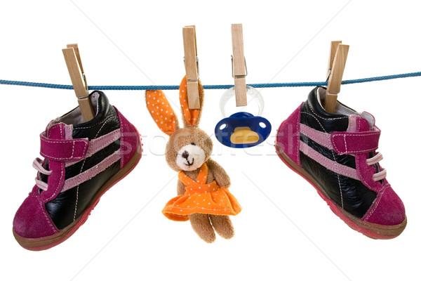 Bebê bens enforcamento cordão azul chupeta Foto stock © Grazvydas