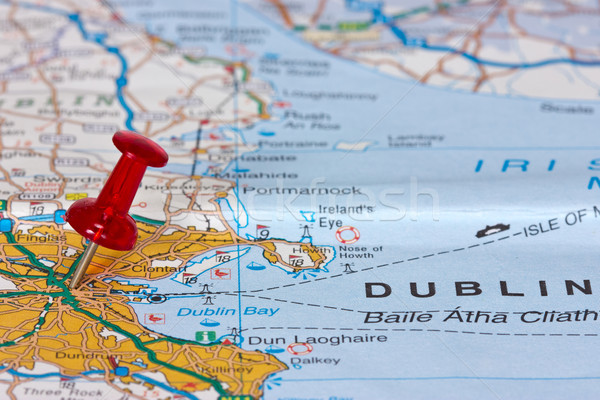 ダブリン 地図 ポインティング 場所 旅行 ヨーロッパ ストックフォト © Grazvydas