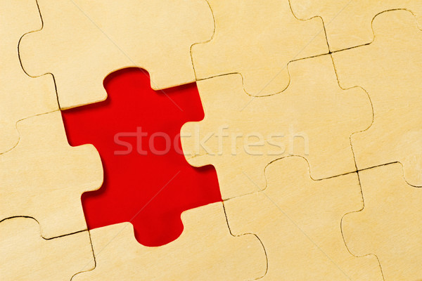 wooden puzzle  with one piece missing Stock photo © Grazvydas