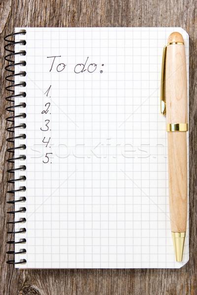 Liste zu tun weiß Papier Notebook Stift Merkzettel Stock foto © Grazvydas