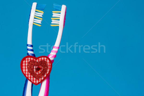 Foto stock: Escova · de · dentes · dois · coração · amor · vida · juntos