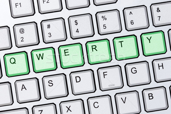 Qwerty billentyűzet zöld gombok ezüst számítógép billentyűzet Stock fotó © Grazvydas