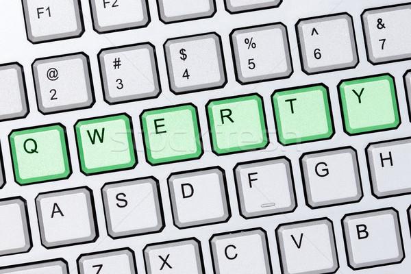 Qwerty toetsenbord groene knoppen zilver Stockfoto © Grazvydas
