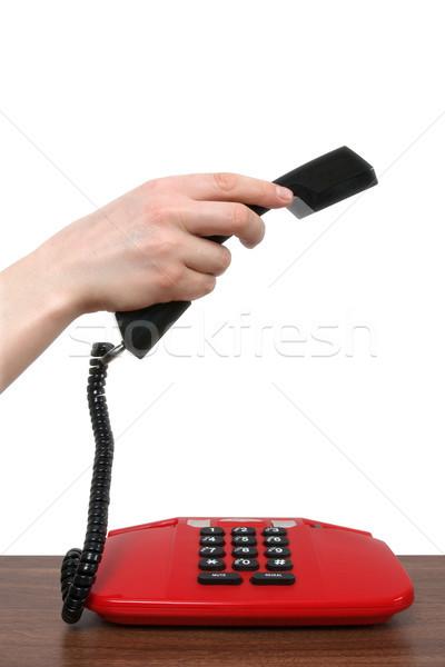 Telefonkagyló kéz női izolált fehér telefon Stock fotó © Grazvydas