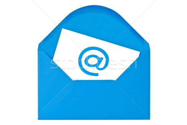 Foto d'archivio: Blu · busta · e-mail · simbolo · isolato · bianco