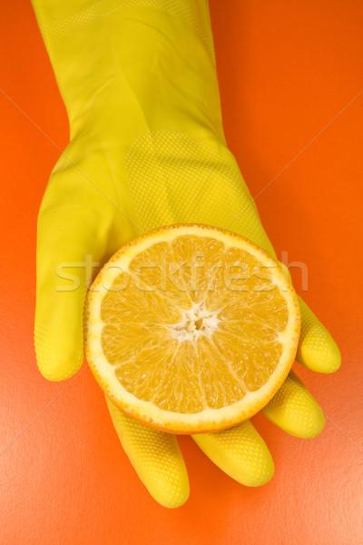 цитрусовые человеческая рука изолированный оранжевый природы фрукты Сток-фото © Grazvydas