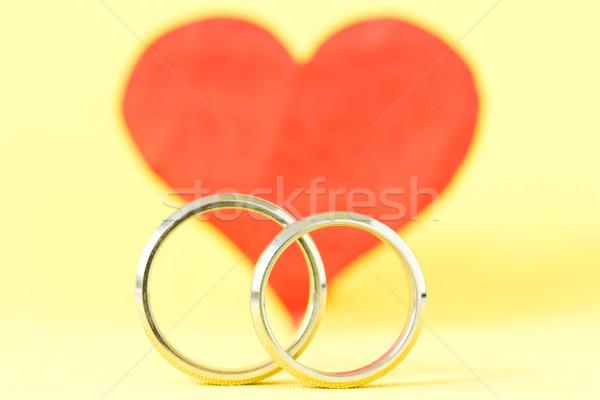 Сток-фото: любви · романтика · серебро · кольцами · красный · сердце