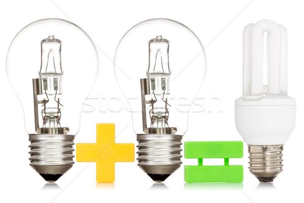 Vergleich Glühbirnen isoliert weiß Licht Lampe Stock foto © Grazvydas