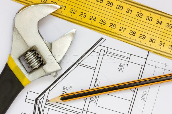 Strumenti costruzione progetti chiave righello matita Foto d'archivio © Grazvydas