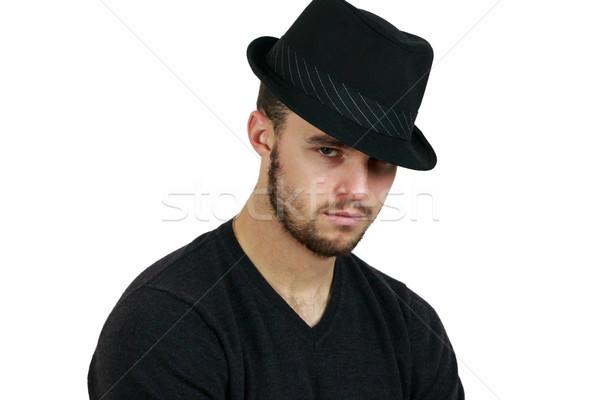Hombre fedora retrato cara pelo Foto stock © gregorydean