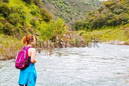 Fille permanent roches rapide rivière jeune fille Photo stock © gregorydean