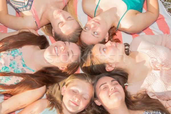 Kızlar zemin gözleri kapalı genç Stok fotoğraf © gregorydean
