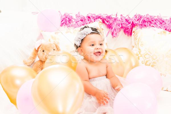 祝う 歳の誕生日 小さな 最初 少女 ストックフォト © gregorydean